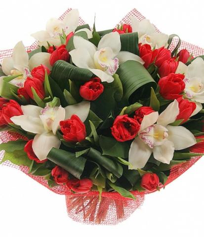 Букеты классические.  Букет из 29 тюльпанов, 7 орхидей и зелени.